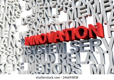 Word Innovation in red, salient among other related keywords concept in white. 3d render illustration.