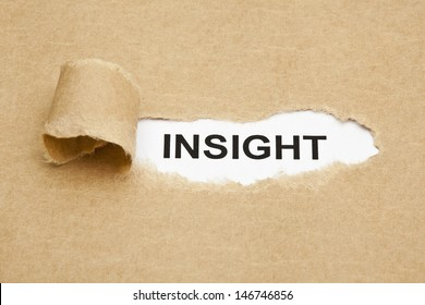The word Insight appearing behind torn brown paper.