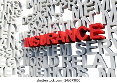Word Insurance in red, salient among other keywords concept in white. 3d render illustration.
