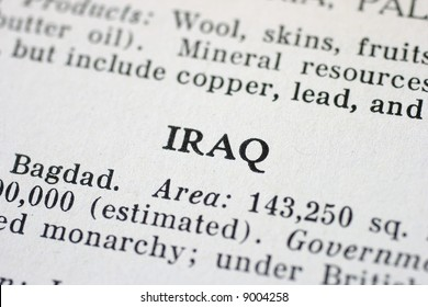 The word Iraq is highlighted in an old Atlas