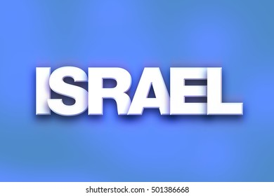 """The word """"Israel"""" written in white 3D letters on a colorful background concept and theme."""