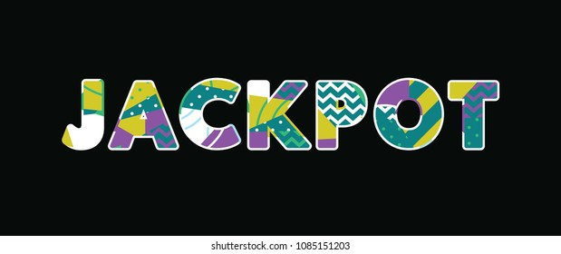 The word JACKPOT concept written in colorful abstract typography.