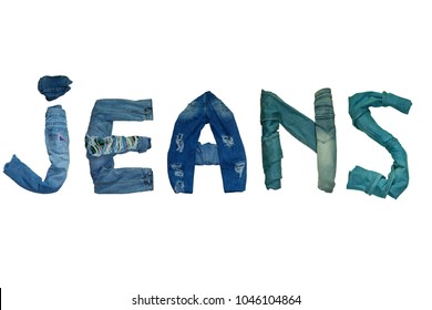 the word JEANS is lined with isolated jeans and denim  letters