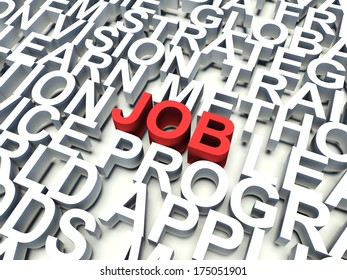 Word Job in red, salient among other related keywords concept in white. 3d render illustration.