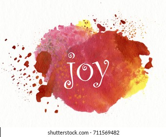 "word ""joy"" on watercolor background"