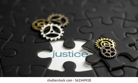 Word justice under jigsaw puzzle piece