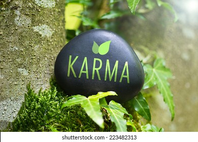 The  word Karma on a stone in nature