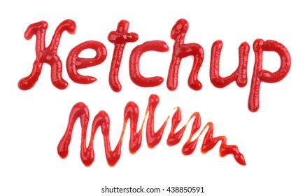 """The word """"ketchup"""" written with ketchup"""