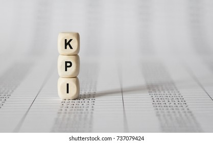Word KPI made with wood building blocks,stock image