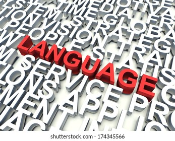 Word Language in red, salient among other related keywords concept in white. 3d render illustration.