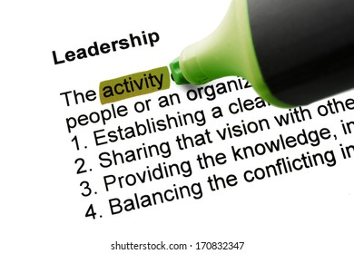 The word Leadership highlighted in green with felt tip pen