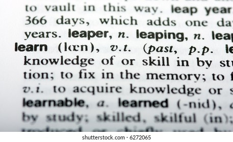 The word learn in closeup with shallow depth of field
