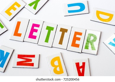 word letter made of colorful letters on white background