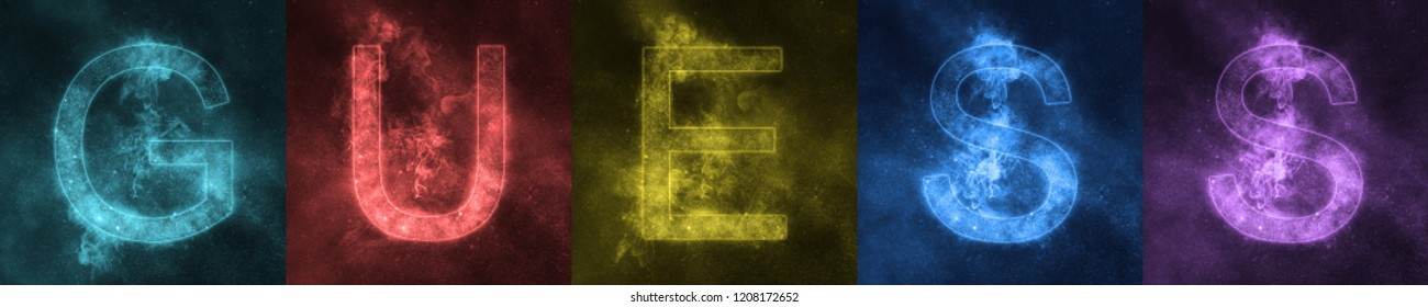 Word lettering GUESS Space stylized colorful Letters. GUESS  banner