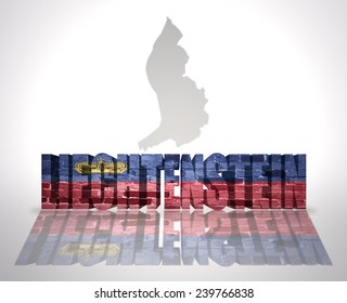 Word Liechtenstein with National Flag near map of Liechtenstein