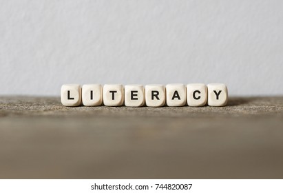 Word LITERACY made with wood building blocks,stock image