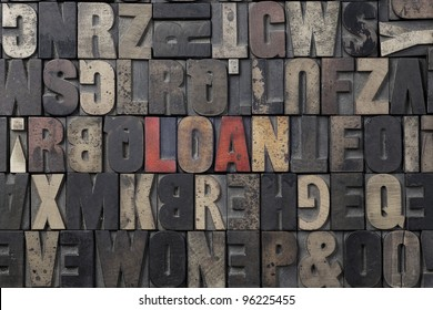 The word Loan written in antique letterpress printing blocks.