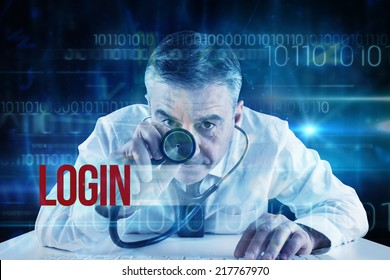 The word login and mature businessman running diagnostics against blue technology design with binary code