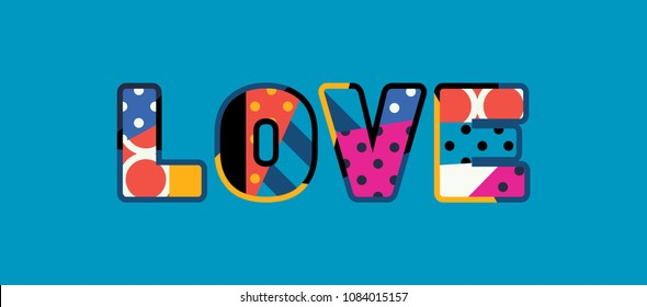 The word LOVE concept written in colorful abstract typography.