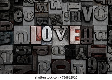The word Love made from old metal letterpress letters