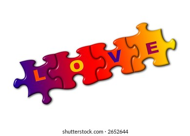 Word Love on puzzle, isolated on white