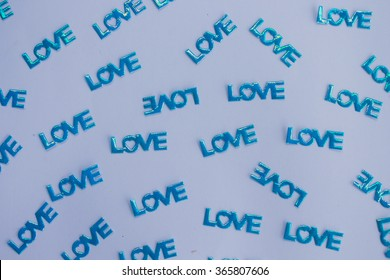 Word LOVE on white background