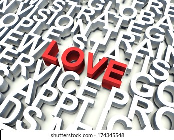 Word Love in red, salient among other keywords concept in white. 3d render illustration.