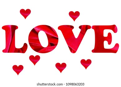 The word love surrounded by hearts on a white background. The letters and hearts are filled with a red velvet texture.