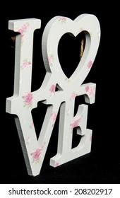Word LOVE (uppercase) on vintage