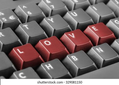 Word love written with red keyboard buttons