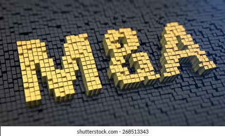 Word 'M&A' of the yellow square pixels on a black matrix background. Mergers and acwuisitions concept.