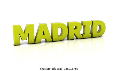 Word madrid in yellow in 3d on white background