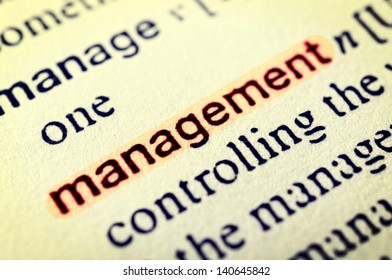 The word Management highlighted in red. Selective focus in the middle of word