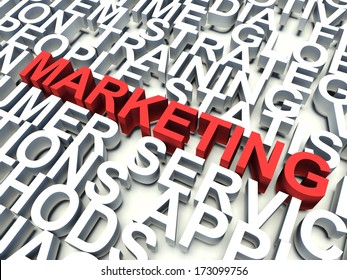 Word Marketing in red, salient among other related keywords concept in white. 3d render illustration.