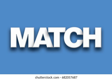 The word Match concept written in white type on a colorful background.