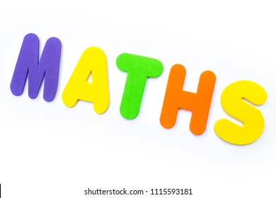 The word MATHS spelt in multi-coloured letters.