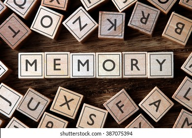 the word of MEMORY on building blocks concept