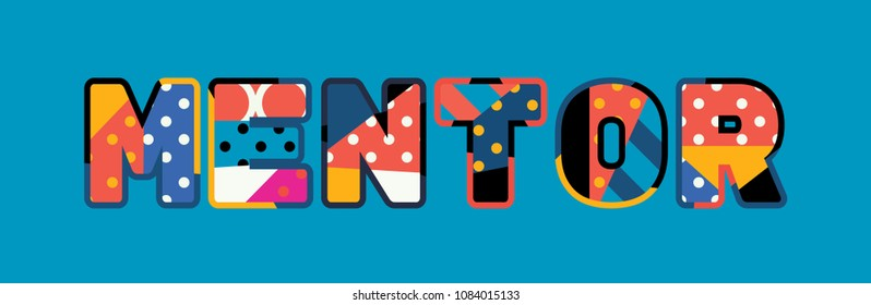 The word MENTOR concept written in colorful abstract typography.