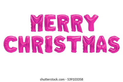 Word merry christmas in english alphabet from pink balloons on a white background. holidays and education.