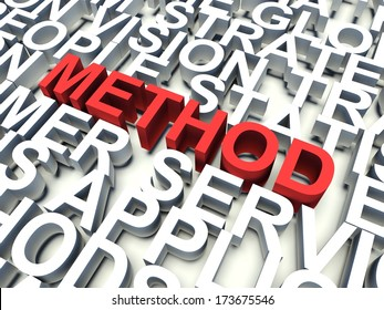 Word Method in red, salient among other related keywords concept in white. 3d render illustration.