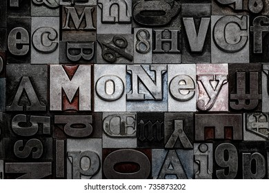 The word Money made from old metal letterpress letters