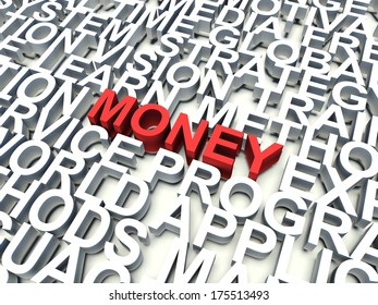 Word Money in red, salient among other keywords in white. 3d render illustration.