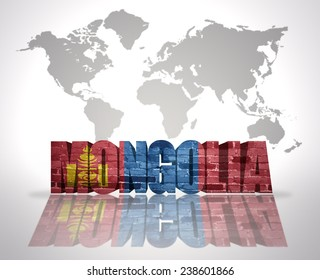 Word Mongolia with Mongolian Flag on a world map background