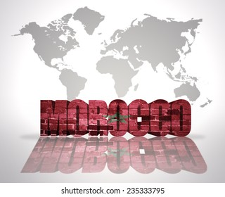Word Morocco with Moroccan Flag on a world map background