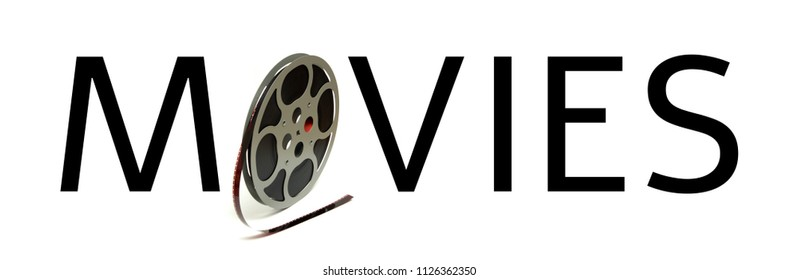 The word movies is spelled utilizing a 8mm film reel.