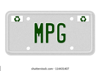 The word MPG on a gray license plate with recycle symbol isolated on white, MPG Car  License Plate