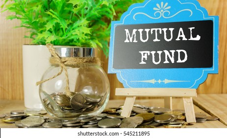 Word Mutual Fund on mini chalkboard and coin in the jar with blurred background of green plant. Financial Concept.