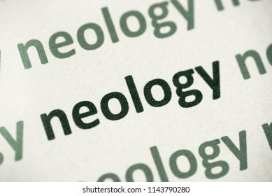 word neology printed on white paper macro