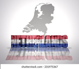 Word Netherlands with National Flag near map of Netherlands
