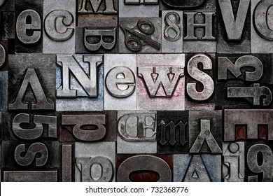 The word News made from old metal letterpress letters